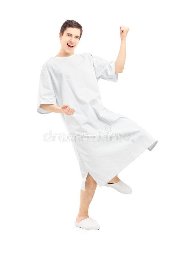 Download Full Length Portrait Of A Male Patient Gesturing Happiness Stock Image - Image: 30128223