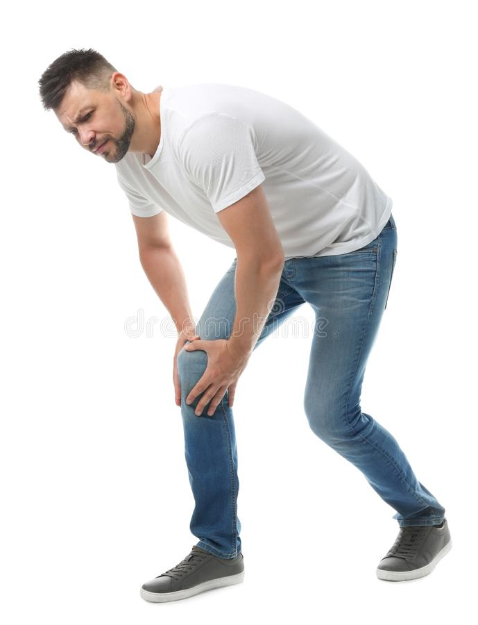 Full length portrait of man having knee problems stock photo