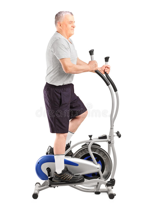 Download Full Length Portrait Of A Mature Sporty Man Exercising  On A Cro Stock Image - Image of athlete, male: 28556057