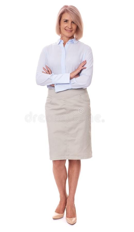 Full length portrait of a middle aged woman stock photography