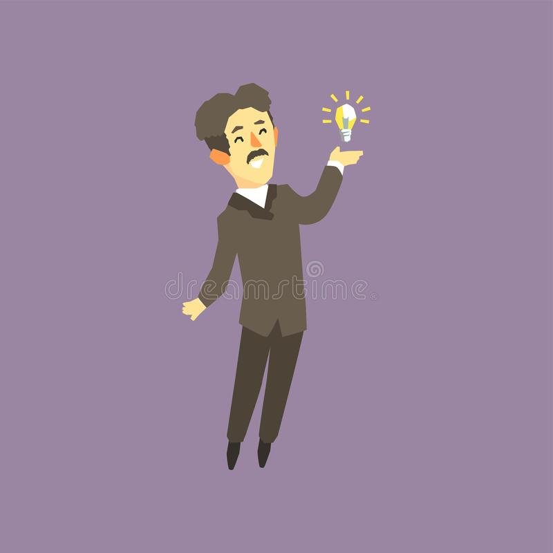 Full-length portrait of Nikola Tesla - famous scientist, electrical engineer and inventor. Cartoon man character and. Bright lamp. Vector illustration in flat vector illustration