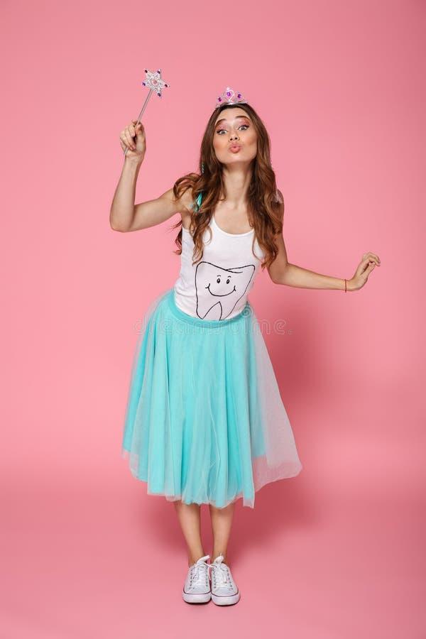Free Full Length Portrait Of Beautiful Birthday Girl With Magic Wand Royalty Free Stock Photo - 104398445