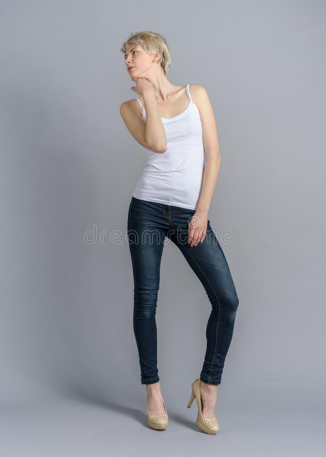 Free Full Length Portrait Of Girl Snap In Casual Outfit Royalty Free Stock Photography - 139494917