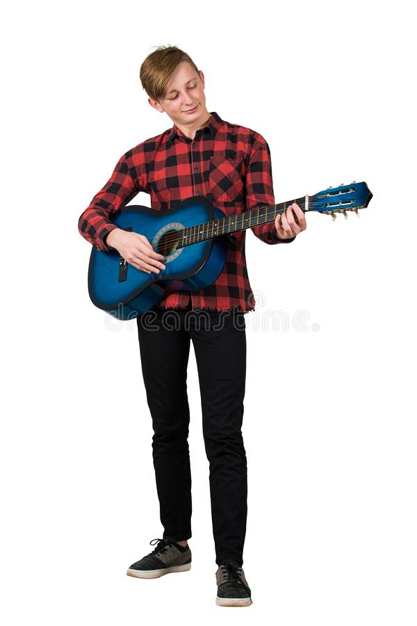 Free Full Length Portrait Of Proud Boy Teenager Playing On The Acoustic Guitar Isolated Over White Background. Music Lessons For Stock Images - 161685944