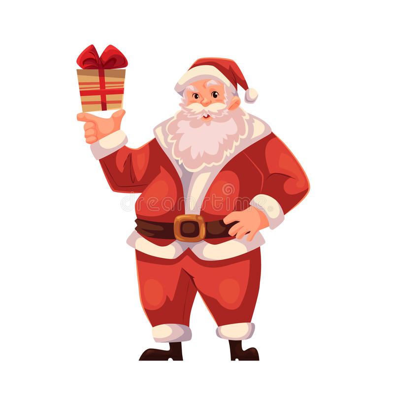 Full length portrait of Santa holding a small gift box. Santa Claus holding a small Christmas gift box, cartoon style vector illustration isolated on white stock illustration