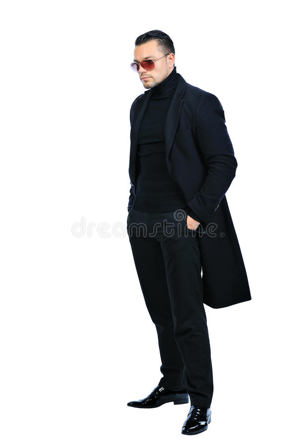 Download Full Length Portrait Man In Black Coat Isolated Stock Image - Image: 29720841