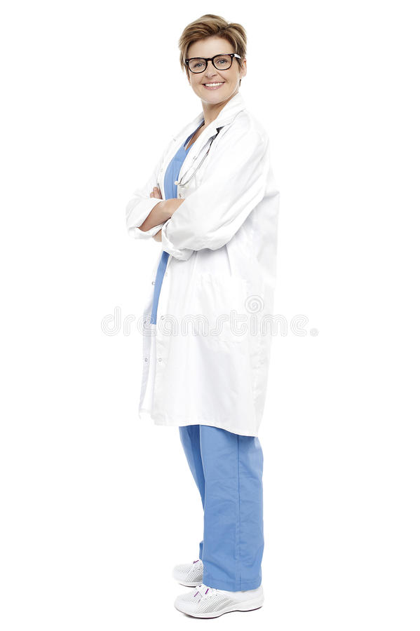 Download Full Length Portrait Of A Smiling Female Doctor Stock Photo - Image: 27544614