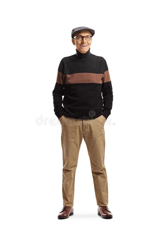 Smiling mature man in fashionable clothes stock photos