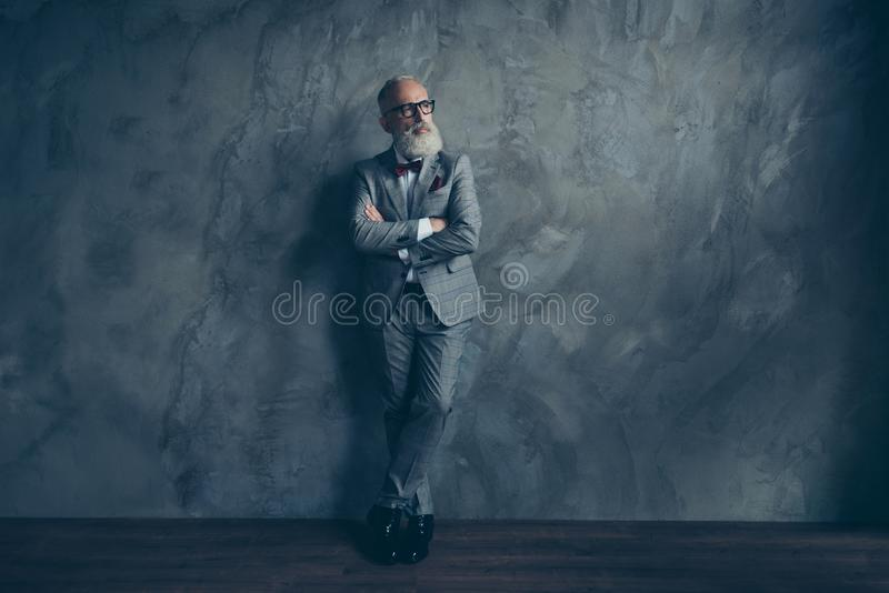 Full length portrait of stunning perfect brutal harsh old man in royalty free stock image