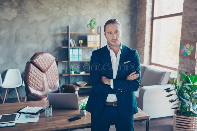 Full length portrait of stunning successful lawyer standing at h stock photo