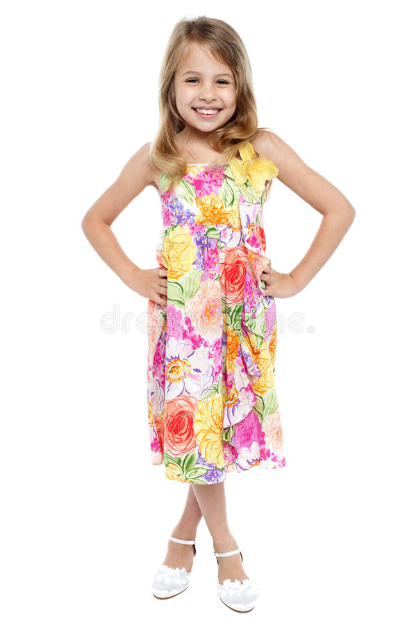 Full length portrait of stylish young girl stock photo