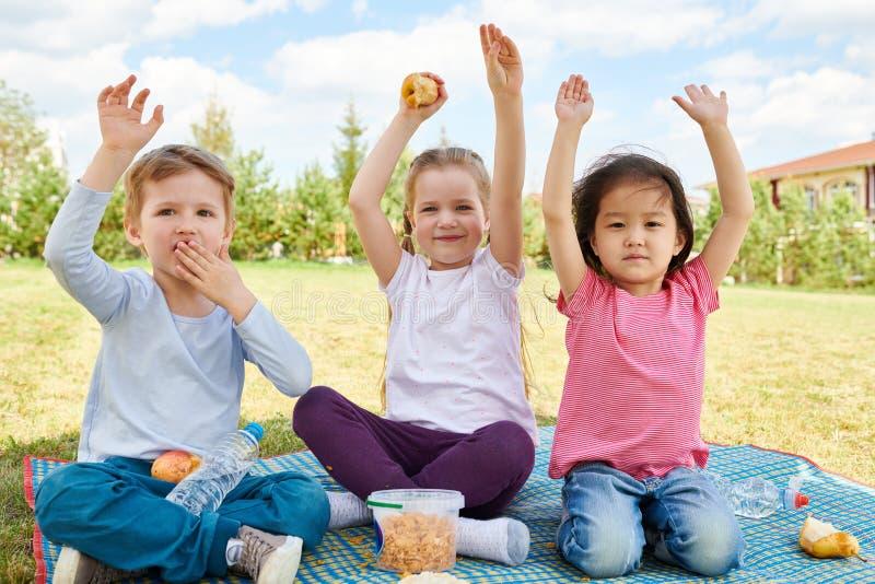 Cheerful Kids Enjoying Picnic royalty free stock photography