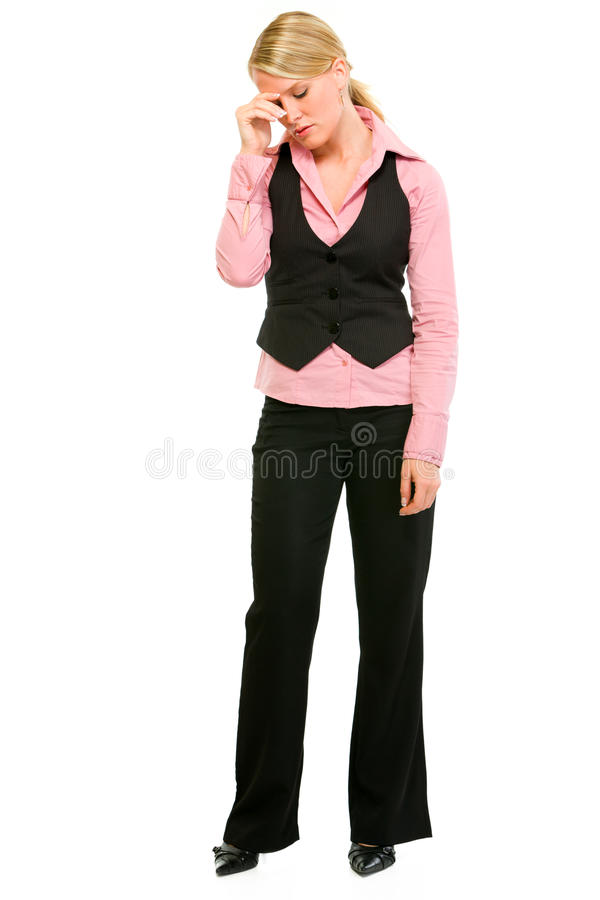 Full length portrait of tired business woman royalty free stock image
