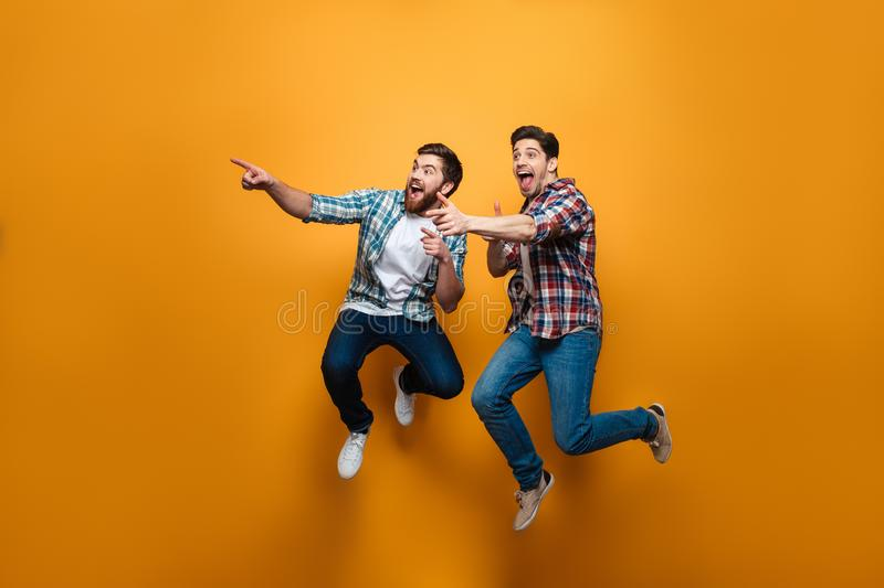 Full length portrait of a two excited young men pointing stock image