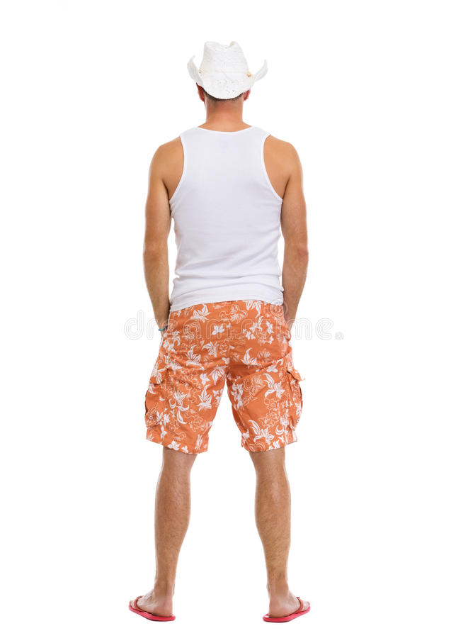 Download Full Length Portrait Of On Vacation Man In Shorts Stock Image - Image of summertime, flops: 25597047