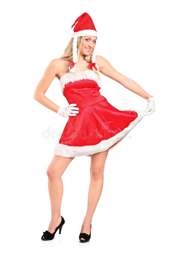 Download Full Length Portrait Of A Woman Dressed As Santa Stock Image - Image: 18772255