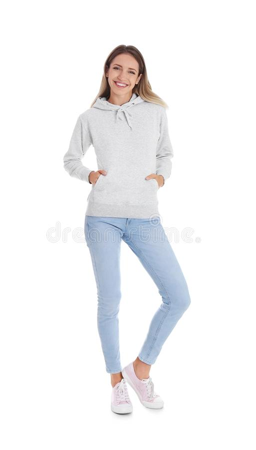 Full length portrait of woman in hoodie sweater stock photos
