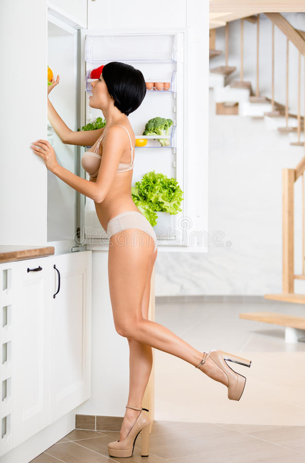 Download Full-length Portrait Of Woman Near The Opened Fridge Stock Image - Image: 33408843