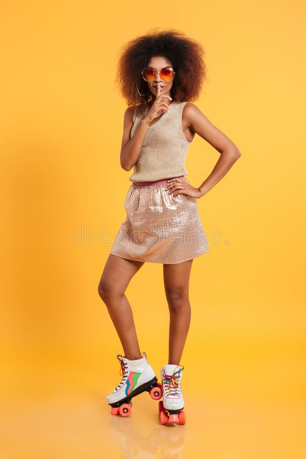 Full length portrait of a young afro american woman stock image