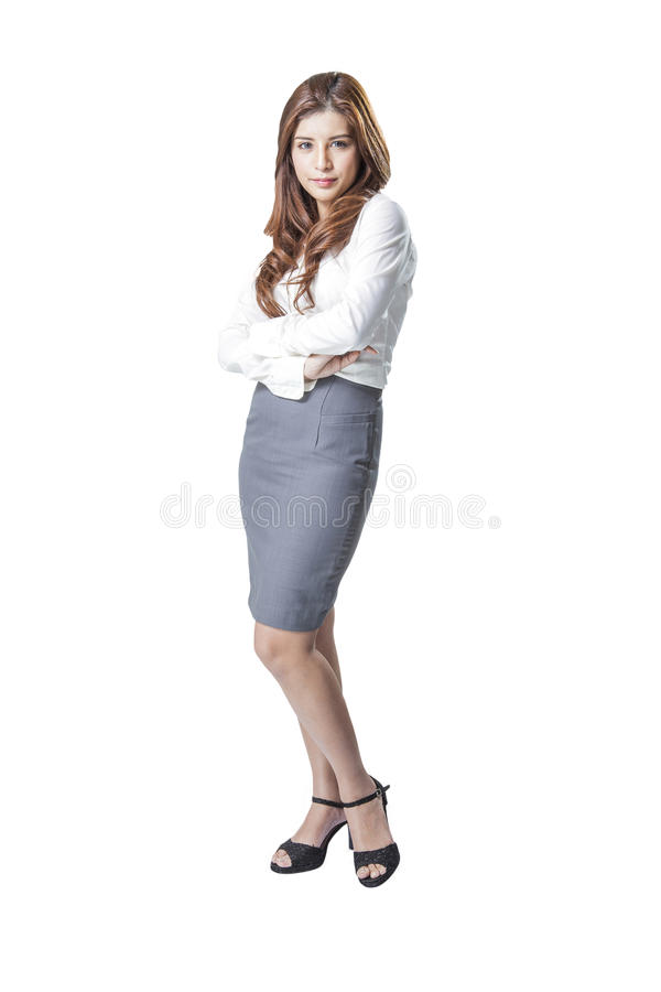 Full length portrait of a young attractive Asian business woman royalty free stock photo