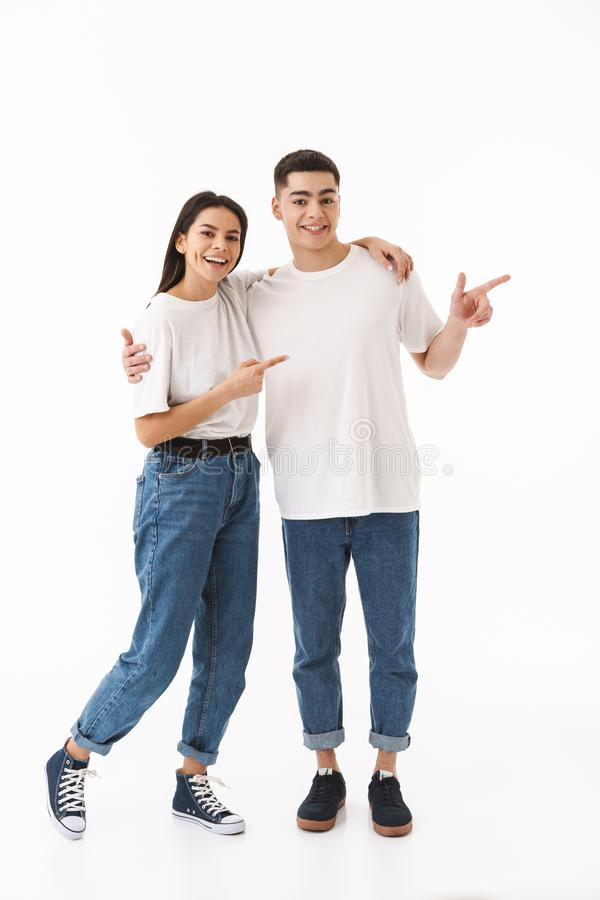 Full length portrait of a young attractive couple stock images