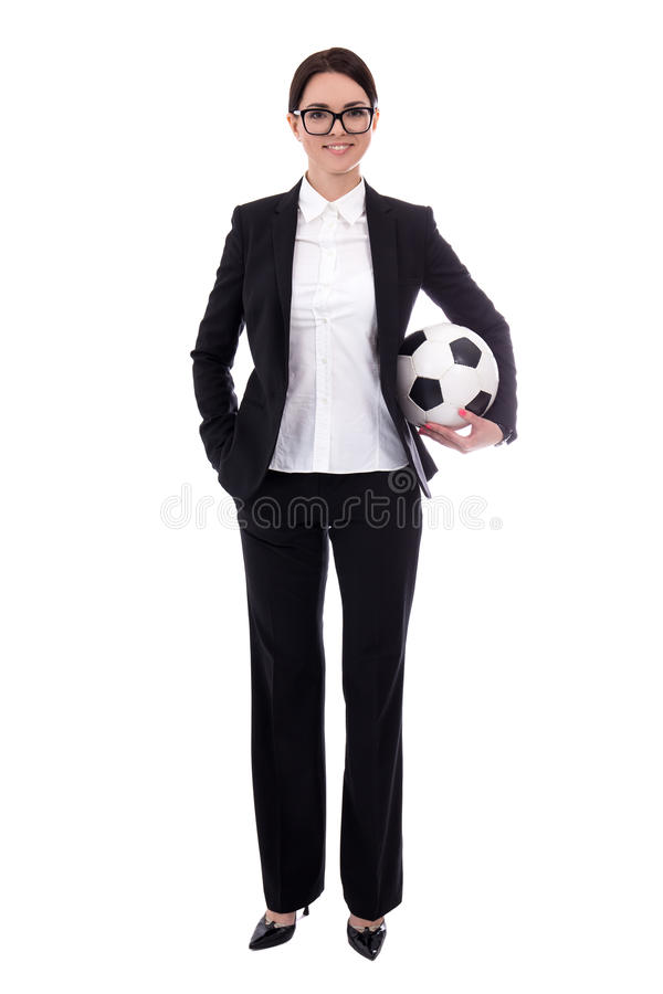 full length portrait of young beautiful business woman with soccer ball isolated on white royalty free stock image