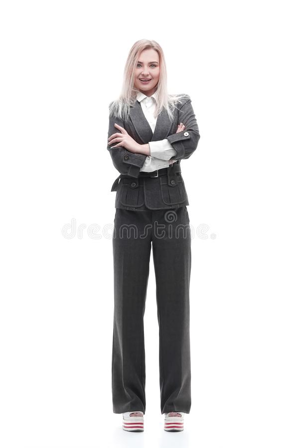 Full-length portrait of young business woman. Photo with copy space stock photo