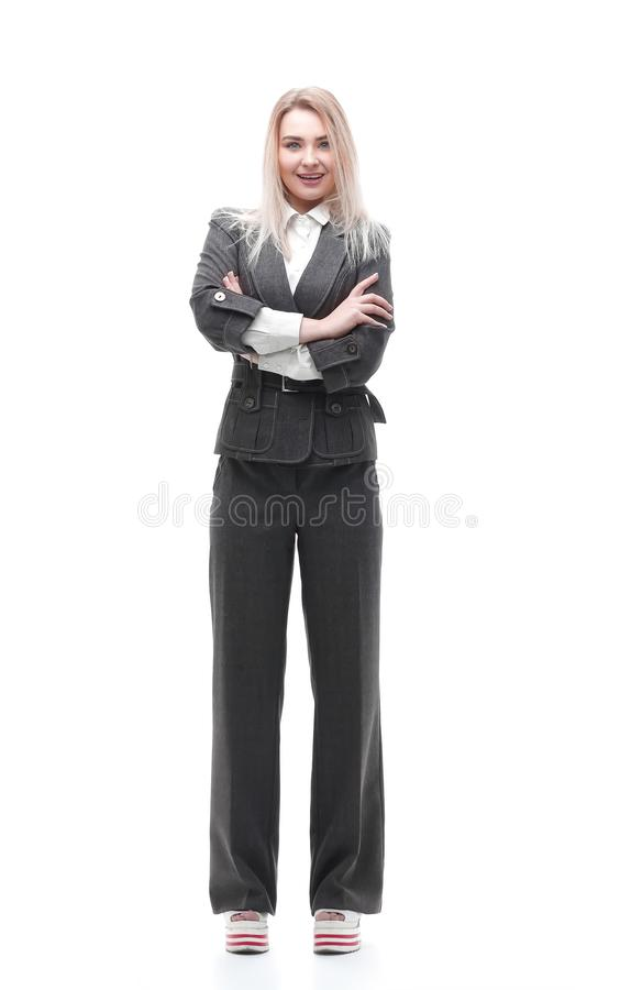 Full-length portrait of young business woman royalty free stock photo