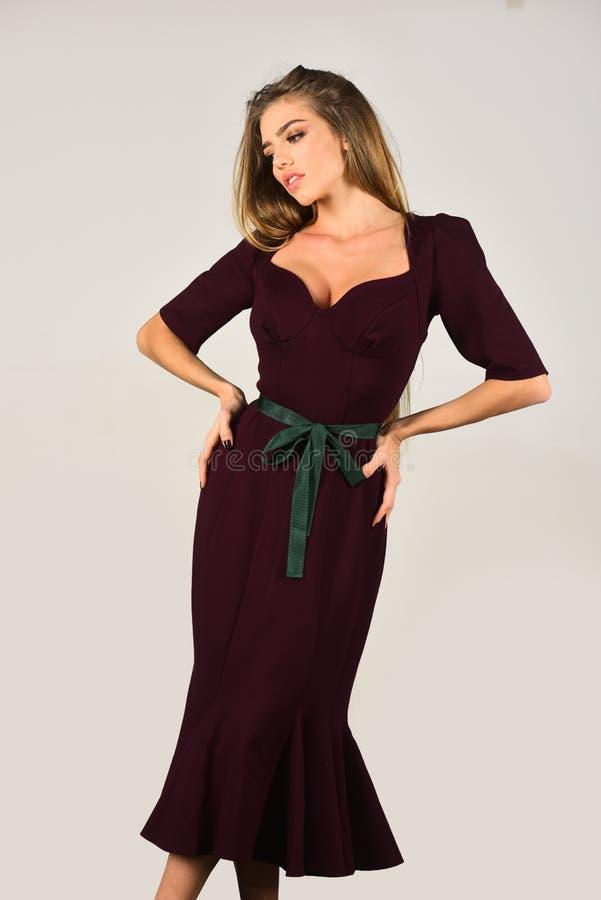 Full-length portrait young elegant woman stock photos