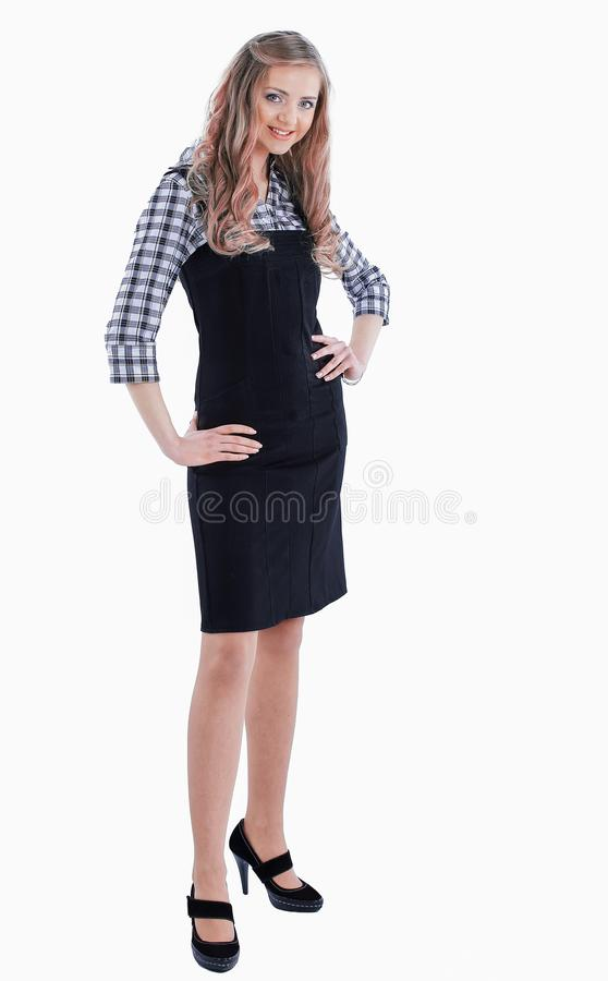 Full-length portrait of a young employee .isolated on white stock images