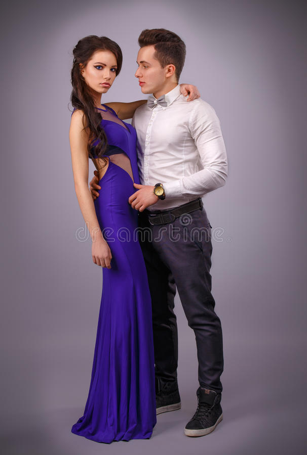 Full length portrait of a young fashionable couple.beautiful couple stock photo
