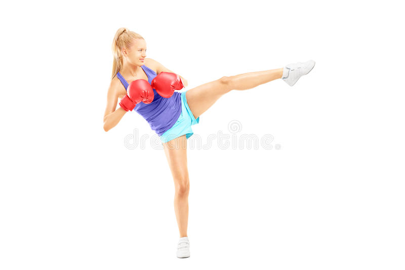 Download Full Length Portrait Of A Young Female With Boxing Gloves Hittin Stock Image - Image: 31362507