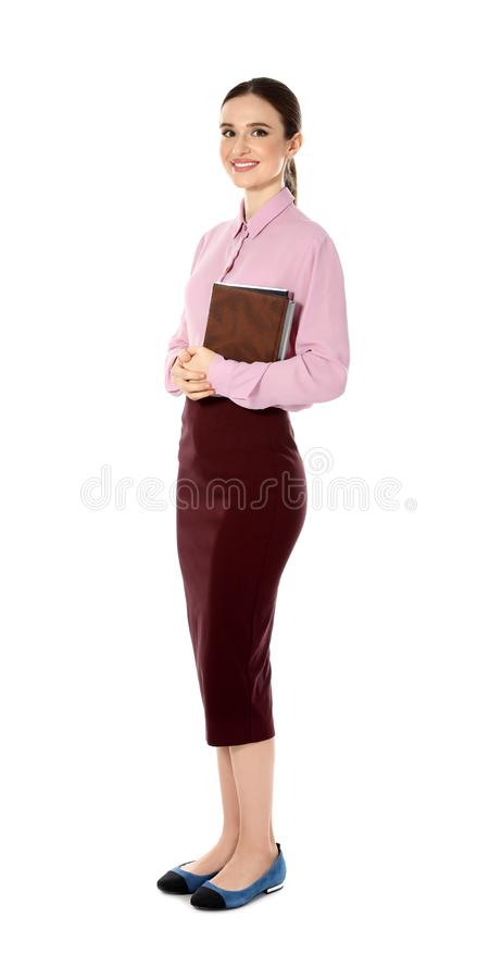 Full length portrait of young female teacher stock photography