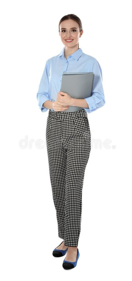 Full length  of young female teacher on white background royalty free stock photo