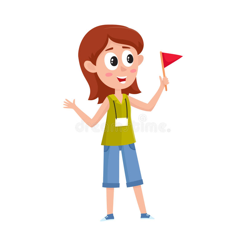 Download Full Length Portrait Of Young Female Tour Guide At Work Stock Vector