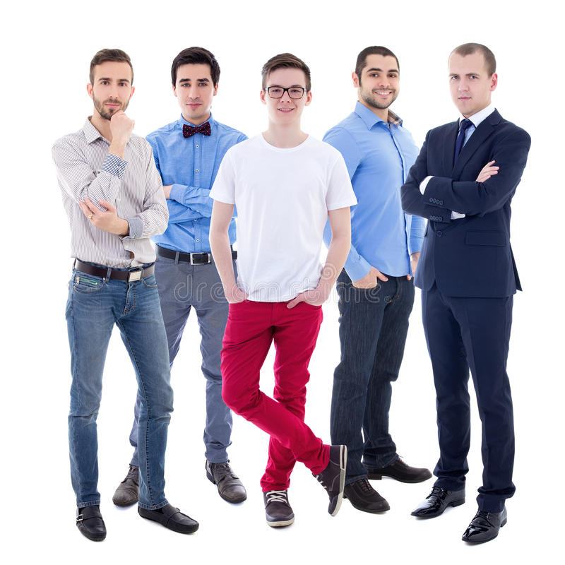 Full length portrait of young handsome business men isolated on. White background royalty free stock photography
