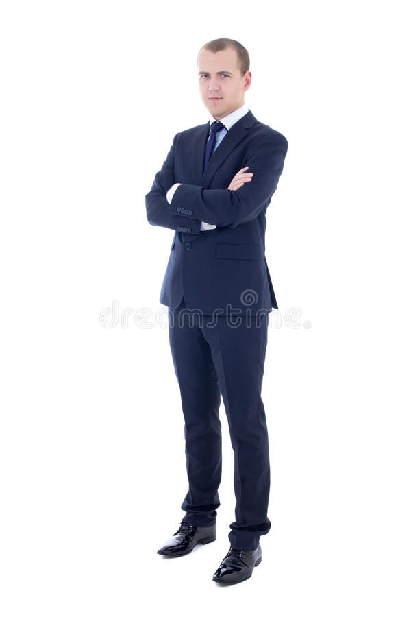 full length portrait of young handsome man in business suit isolated on white stock photos