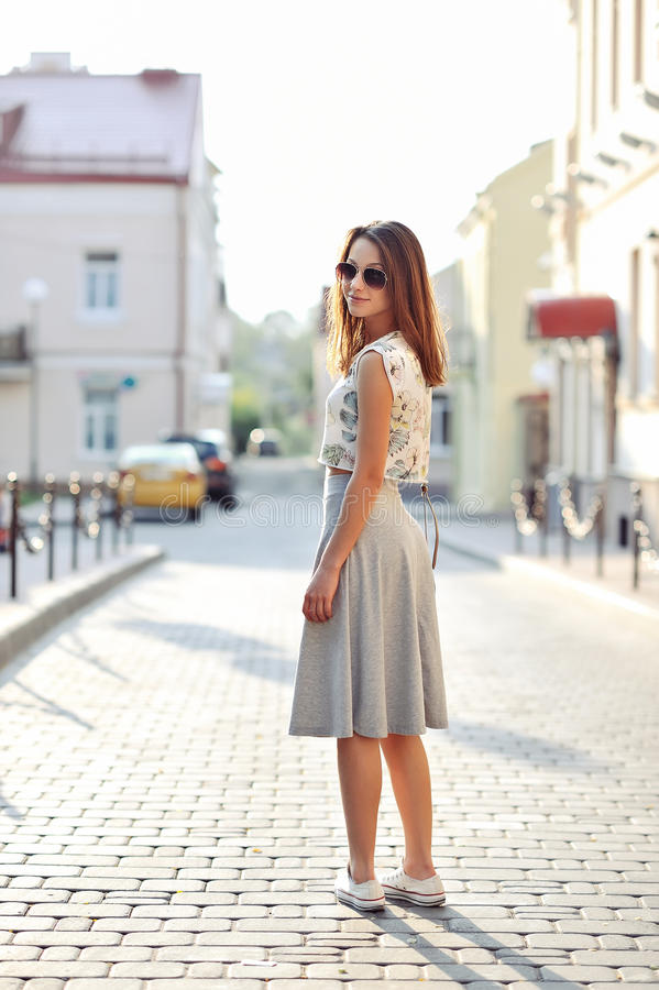 Full length portrait of young hipster girl outdoor stock photos
