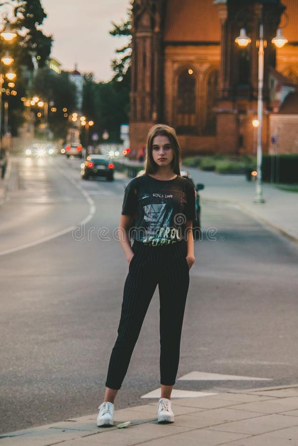 Full length portrait of young teen girl royalty free stock photography