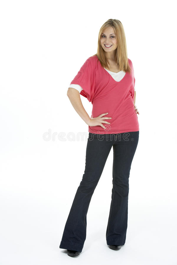 Full Length Portrait Of Young Woman. Full Length Studio Portrait Of Young Woman, White Background stock photo
