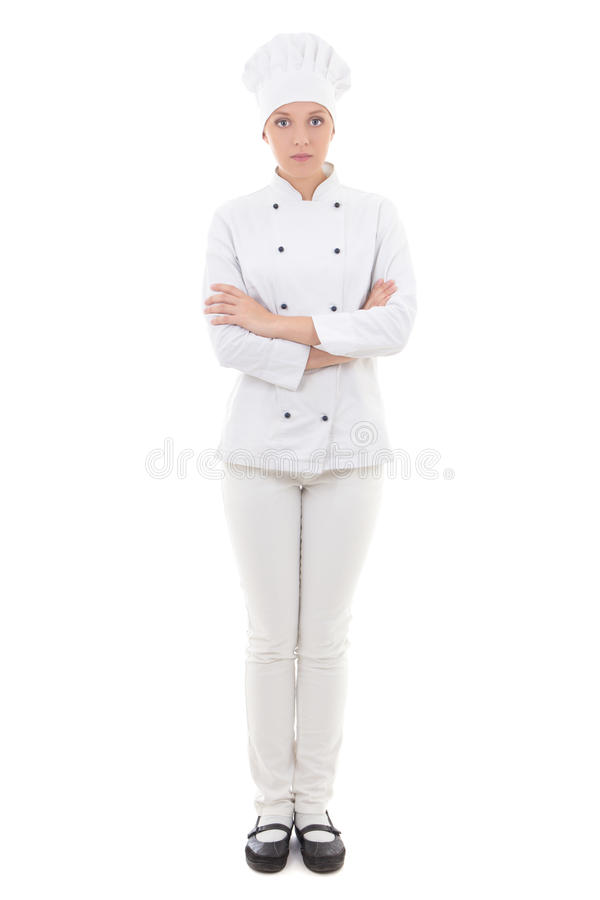 Full length portrait of young woman in chef uniform isolated on royalty free stock photography