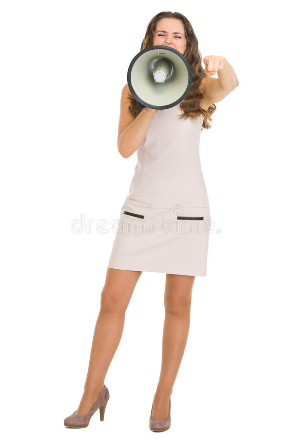 Download Young Woman Shouting Through Megaphone Stock Image - Image: 30162909
