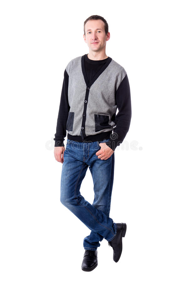 Full length portrat of handsome middle aged man posing isolated royalty free stock image
