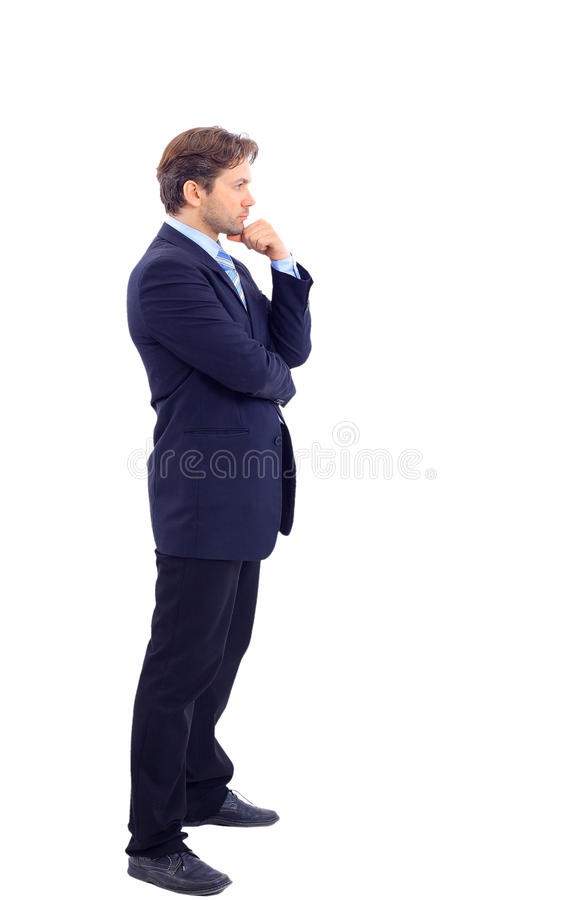 Full length profile of a middle. Aged business man royalty free stock photography