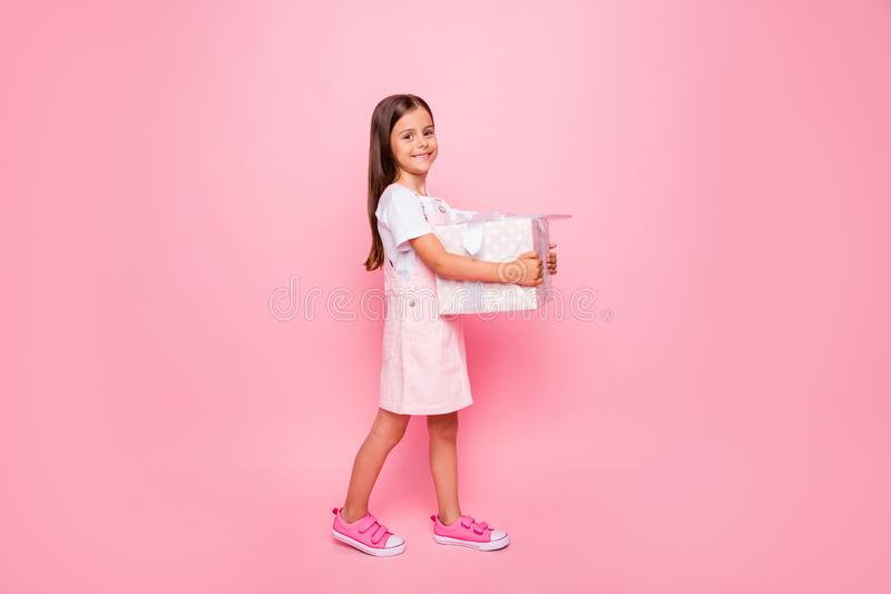 Full length profile photo of little lady hands hold giftbox holidays guest going have fun wear sun dress isolated pink stock images