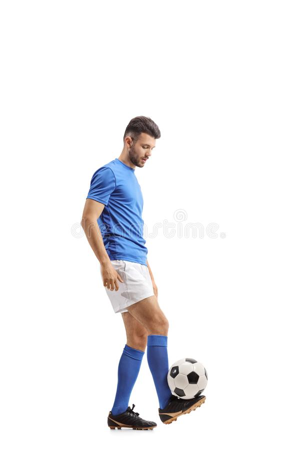 Soccer player juggling a football royalty free stock photos