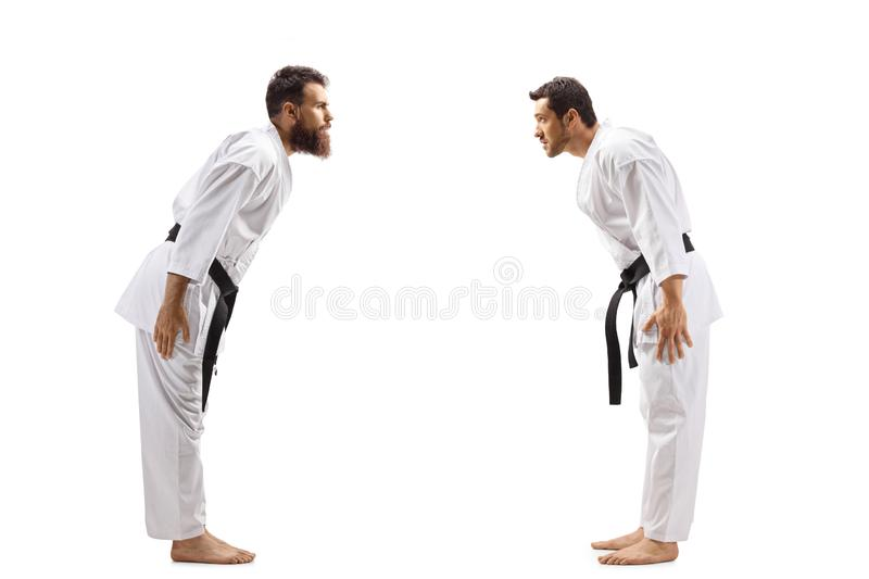 Two men in karate kimonos bowing. Full length profile shot of two men in karate kimonos bowing isolated on white background royalty free stock photo