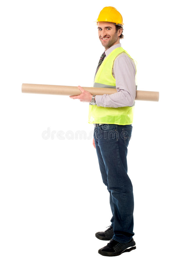 Download Full Length Shot Of A Construction Engineer Stock Image - Image of hard, looking: 32991167