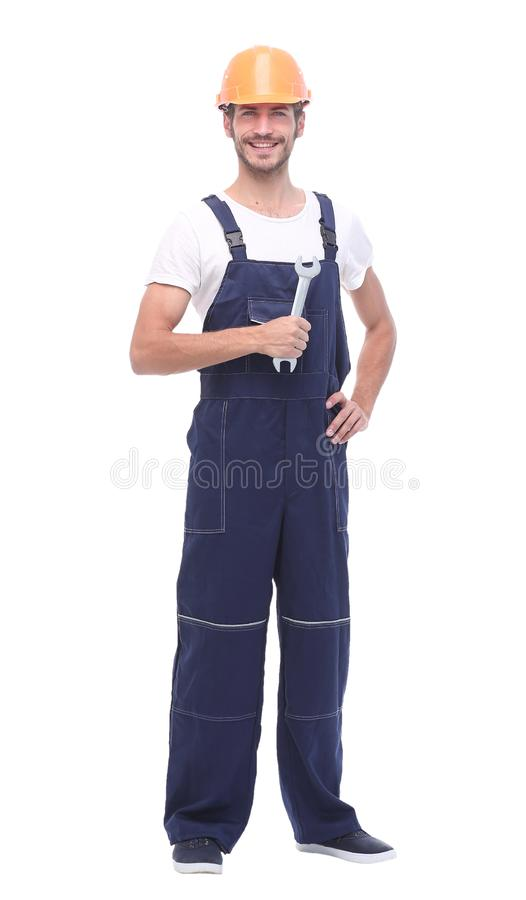 Full length shot of a construction worker. All on white background stock photo
