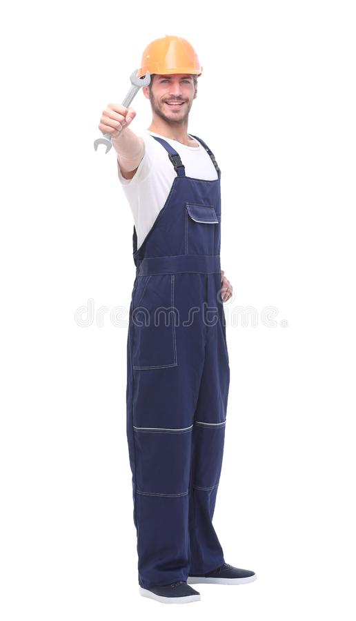 Full length shot of a construction worker. All on white background royalty free stock image